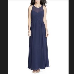 NWT Ralph Lauren Evening Navy Blue Chiffon Gown